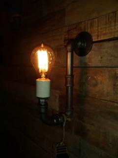 Lampara Industrial Caño Hierro Foco Vintage Incluido