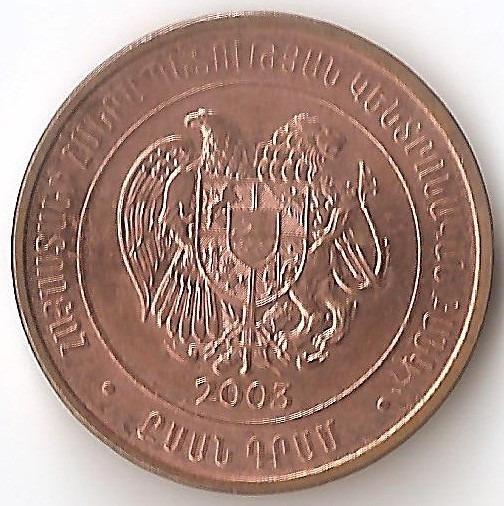 Armenia, 20 Dram, 2003. Sin Circular