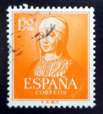 España, Sello Yv. 814 Isabel I 1,25p Naranja 51 Usado L7637