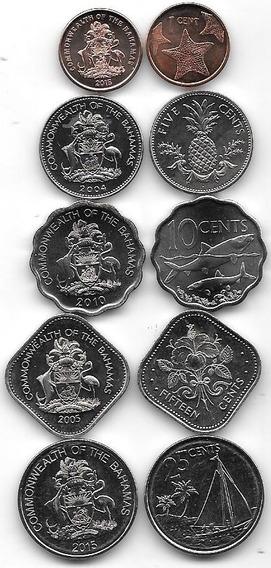 Serie De 5 Monedas De Bahamas Año 2004 A 2015 (1 Cuadrada )