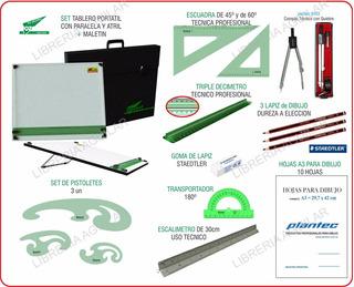 Kit Completo 40x50 Tablero Dozent Plantec Dibujo 24 Articulo