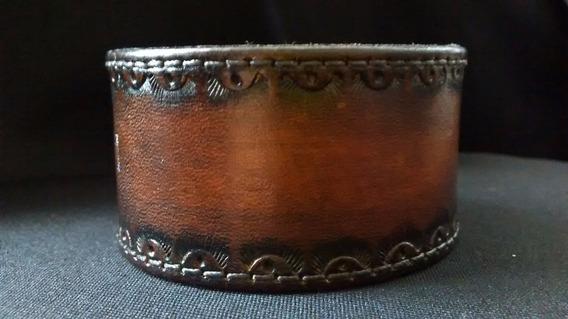 Bracelete Pulseira Cuff Couro Entalhado Nove13