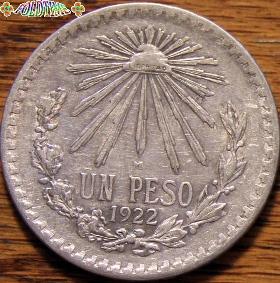 1922 Un Peso Moneda Mexicana Resplandor Rara Au Plata Ley 72