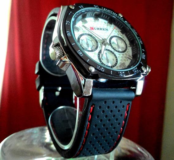 Relógio Fundo Branco E Cromado Pulso Curren M3502 Analogico