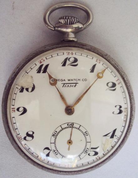 Relógio De Bolso Suíço Omega Tissot Com Maquinário Dourado