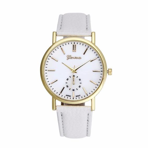 Relógios Casual Unissex Geneva L4k9 De Couro Quartzo