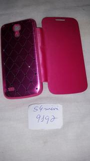 Capa Flip Case Cartão Galaxy S4 Mini I9192 Rosa Com Pedras
