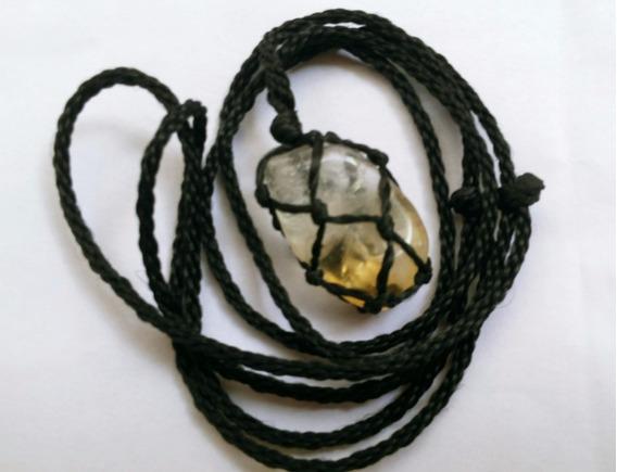 Colar De Pedra Castroada Signo Libra Pedra Citrino