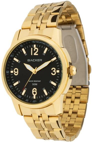 Relógio Feminino Analógico Backer 3019175m Pr - Dourado Fund