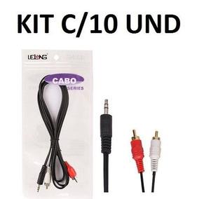 Cabo P2 X 2 Rca Áudio Original Kit Com 10 Und Frete Grátis