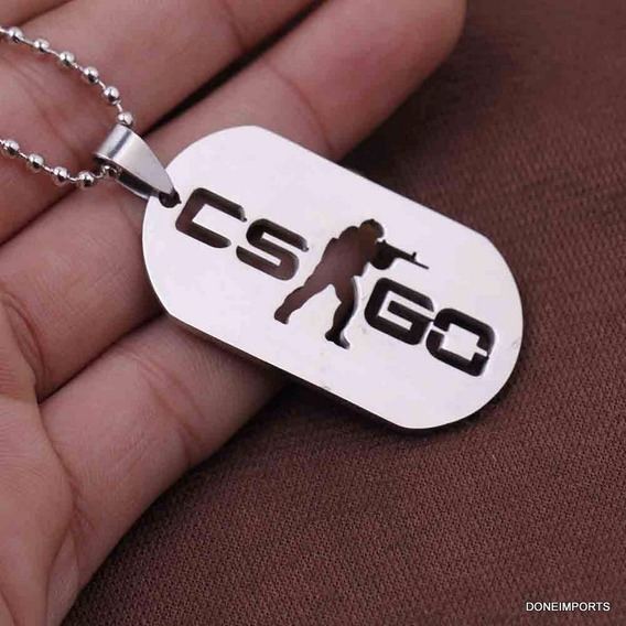 Pingente Dog Tag Placa Vietnã Inox Cs Corrente 60cm