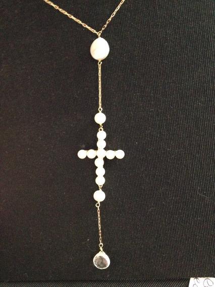 Maravilhoso Colar Ouro 18 Kts Com Crucifixo Em Perolas