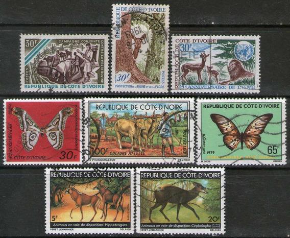 Costa De Marfil 8 Sellos Mariposa = León = Ciervo Años 1966+