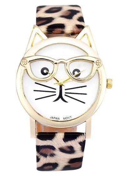 Relógio Feminino Onça Oncinha Gato Gatinho De Óculos