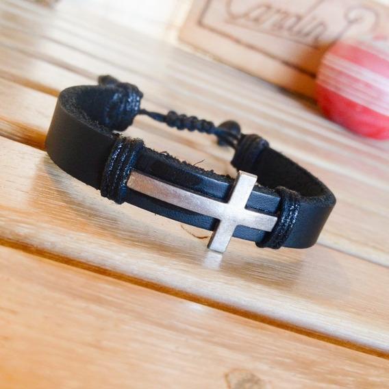 Bracelete Masculino Couro Cruz Prata Cadin Design