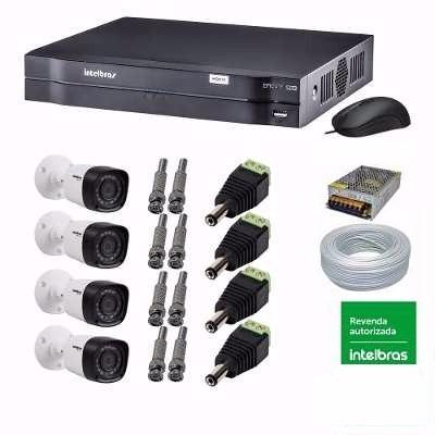 Kit Cftv Intelbras 4 Câmeras 1010b G3 720p + Dvr Mhdx 1004