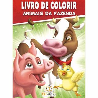 Livro De Colorir Animais Da Fazenda 80 Páginas