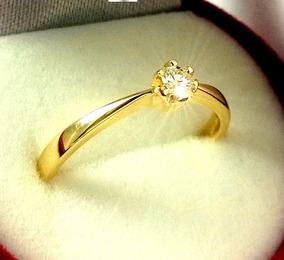Anel Solitário De Ouro Maciço 18k Brilhante Cz Zircônio