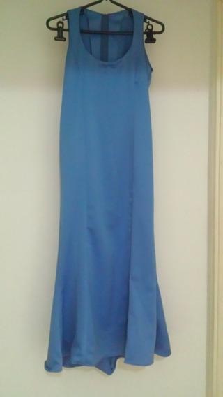 Vestido Festa, Madrinha Mãe De Noiva Azul E Dourado 38 40