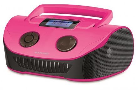 Boombox Mp3 Sistema De Som Portatil - Rosa/preta - Sp184