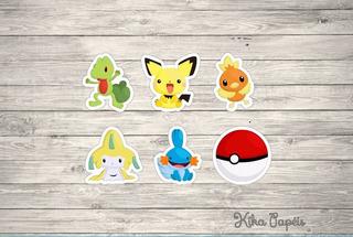 100 Tags Festa Toppers Pokemon Cute 3,5 Cm