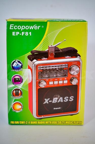 Radio Fm Am Ecopower Epf81 Usb Sdcard Midrosd Lanterna Novo!