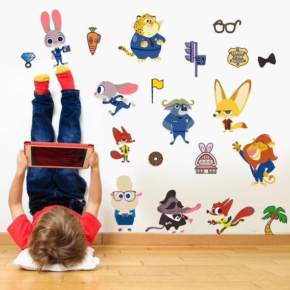 Adesivo De Parede Infantil Criança Zootopia Personagens