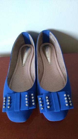 Sapatilha Azul Com Laço Anna Flynn