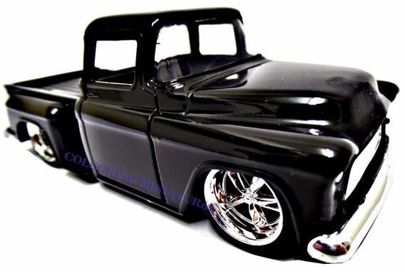 Miniatura Chevy Stepeside Pickup 1955 Preta Jada 1:32