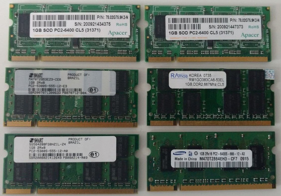 Memória Notebook Ddr2 1gb 667 800 Mhz