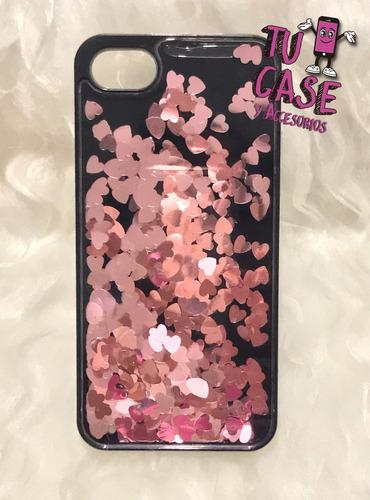 Imagen 1 de 1 de Case Corazones Movibles Color Rosado Para iPhone 7 - 4.7'