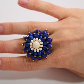 Anel Feminino Ajustável Pedra Howlita Azul E Branca + Bronze