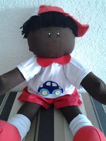 Boneca De Pano Negra Decoração Menino Quarto Bebe Henrico