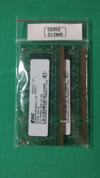 2 Memórias Notebook Ddr2 512 Mb Pc2-5300s 555-12-a0