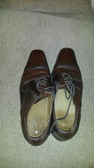 Zapatos De Cuero Marrón Talle 42 Ferraro