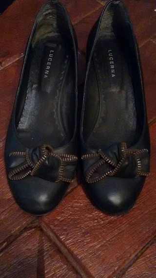 Zapatos De Cuero Negro Lucerna