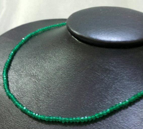 Colar De Onix Verde Natural