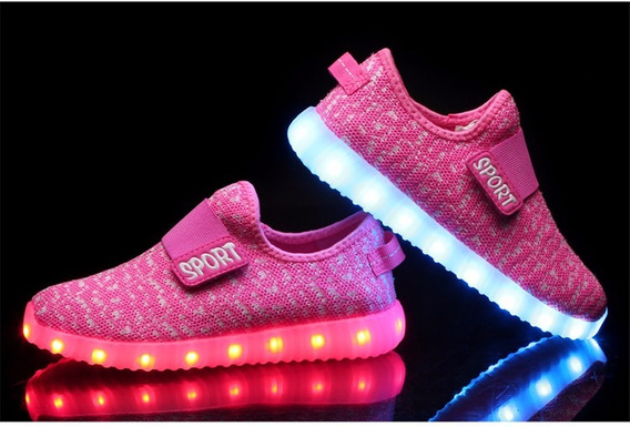 Tenis Pink Niña Led Luces Luminoso Sport Sneaker Shoes