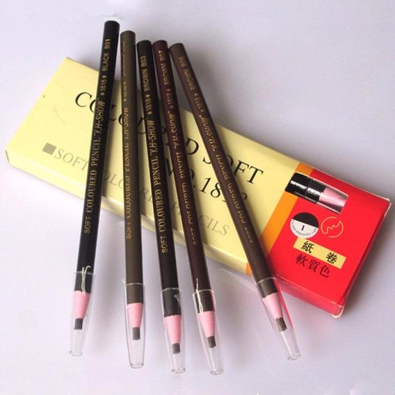 3 Lápis Dermatográfico Marrom Micropigmentação Sobrancelhas
