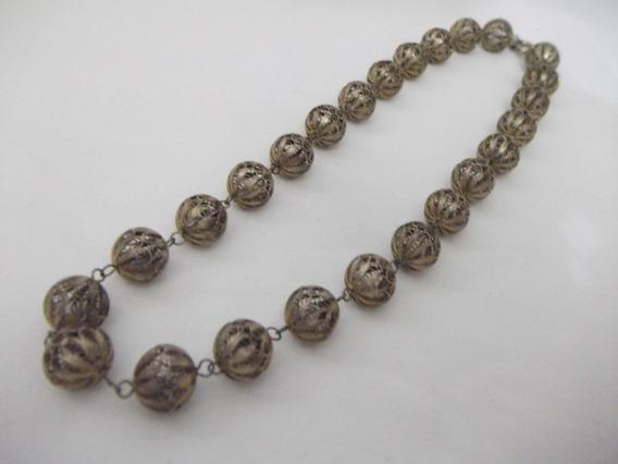 B. Antigo - Elegante Colar Em Prata Filigrana Banhado A Ouro