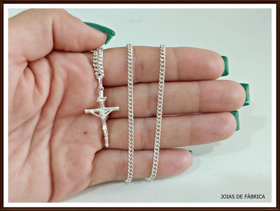 Cordão,corrente Grumet 75cm Com Crucifixo Em Prata 950