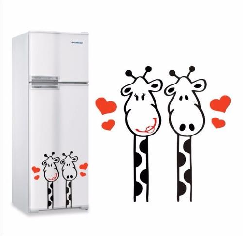 Imagem 1 de 2 de Adesivo Parede Geladeira Casal Girafas