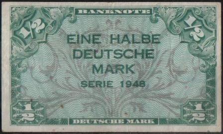 Alemania Federal 1/2 Mark 1948 P1a