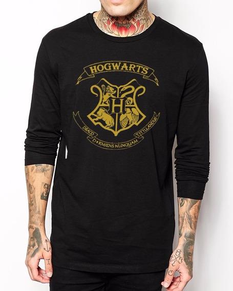 Camiseta Manga Longa Hogwarts Harry Potter Camisa