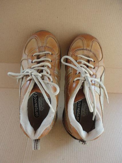 Sapato/tênis/sapatênis Infantil, De Couro - Ortopasso- Nº 28
