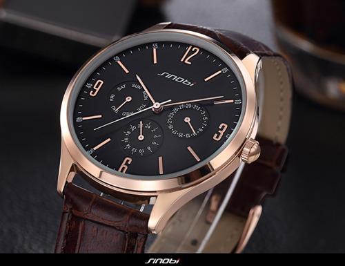 Relógio Sinobi - Luxo E Elegância - Prata - Mostrador Preto