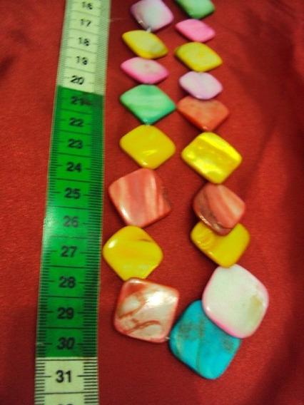 Colar De Madrepérolas Coloridas Formas Geométrica Pronta Ent