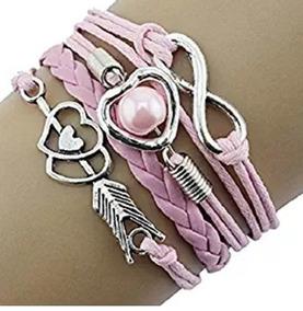 Bracelete Coração Flexado Rosa - Glam0065