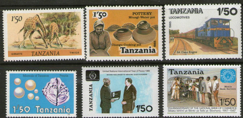 Imagen 1 de 1 de Tanzania 6 Sellos Tren, Jirafa, Ostra, Cerámica Años 1980-87