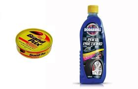 Limpa Pneus Pretinho Rodabrill + Cera Grand Prix Lata 200 Gr